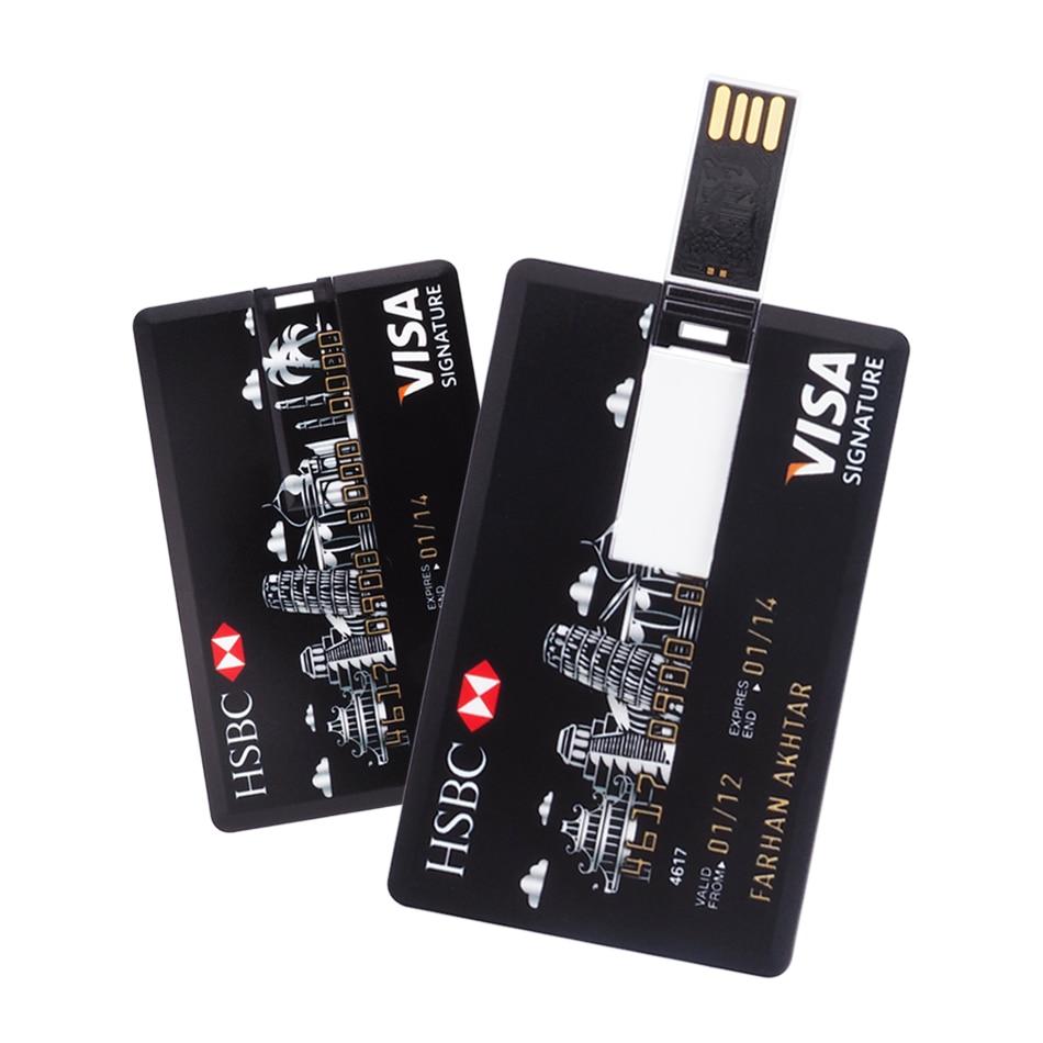 2019 Hot Sale Customized Credit Cards Usb Flash Drive 4gb 8gb 16gb 32gb 64gb Pen Drive Memory USB Stick Usb 2.0 Pendrive Gift