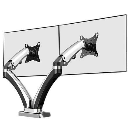 NB F180 Gas Spring Full Motion 17-27 Dual Screen Monitor Holder Desktop Clamping or Grommet TV Mount With USB and Audio Port nb f180 gas spring full motion 17 27 dual screen monitor holder desktop clamping or grommet tv mount with usb and audio port
