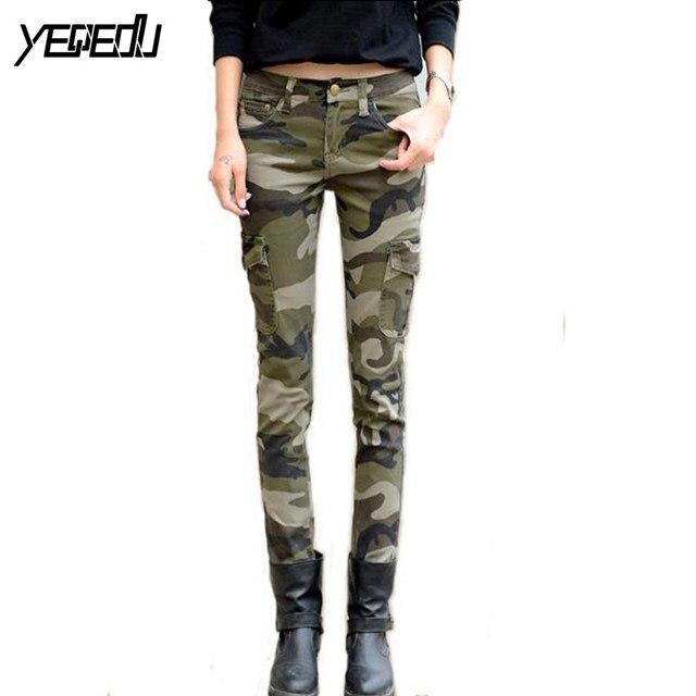 #0913 venta Caliente Primavera verano 2017 pantalones de Camuflaje de las mujeres Ocasionales Flacos pantalones Cargo Moda Flaco pantalones Del Ejército para las mujeres lápiz