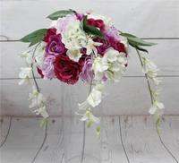 2016 свадебный стол центральным цветок мяч свадебные украшения искусственный арка цветы партия домой фон декоративные флора