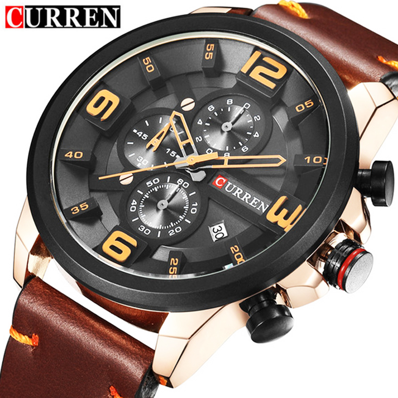 CURREN 8288 Top Brand Chronograph Quartz Watches Men Sport Fashion Casual Watch For Men Leather Wristwatches relogio masculino 2017 new top fashion time limited relogio masculino mans watches sale sport watch blacl waterproof case quartz man wristwatches