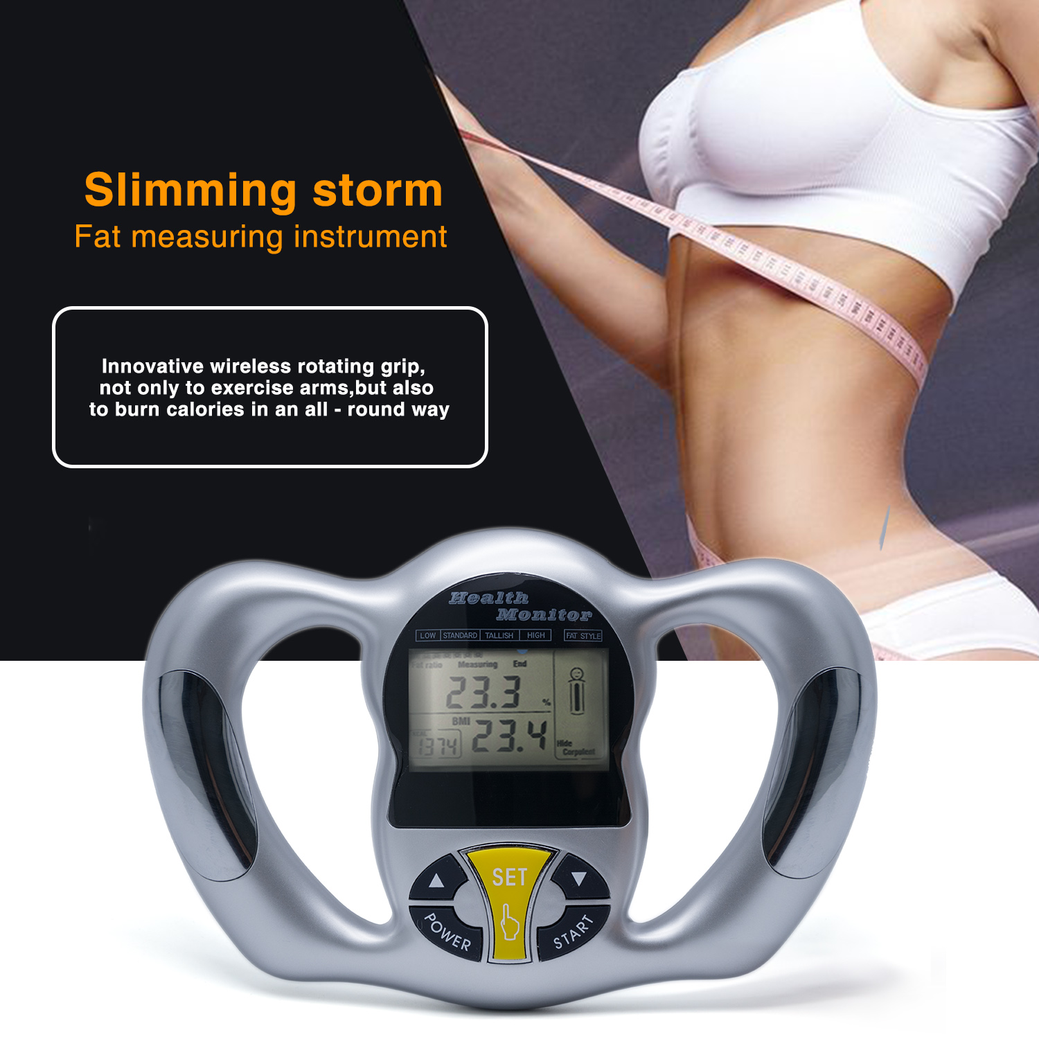 Body Health Monitor Digital LCD Fat Analyzer BMI Meter Weight Loss Tester Calorie Calculator Measurement Tools C1418