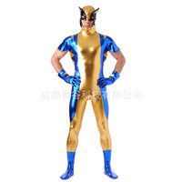 2016 High Quality Spider Man Men Glue Zentai Suits Blue Full Body One Piece Bodysuit Latex