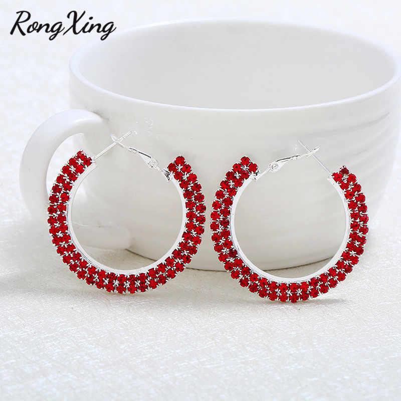 R ongxingวินเทจสีแดง/สีฟ้า/สีขาว/สายรุ้งเพทายต่างหูห่วงกลมสำหรับผู้หญิงสีเงินต่างหูวงกลมสุภาพสตรีพรรคเครื่องประดับ