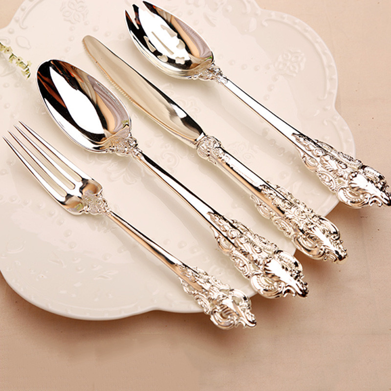 10/20pcs/set Silver Plated Dinnerware Steak knife and fork sets Cutlery set Dinnerware  sc 1 st  AliExpress.com & 10/20pcs Silver Plated Tableware Steak knife Teaspoon Forks Cutlery ...