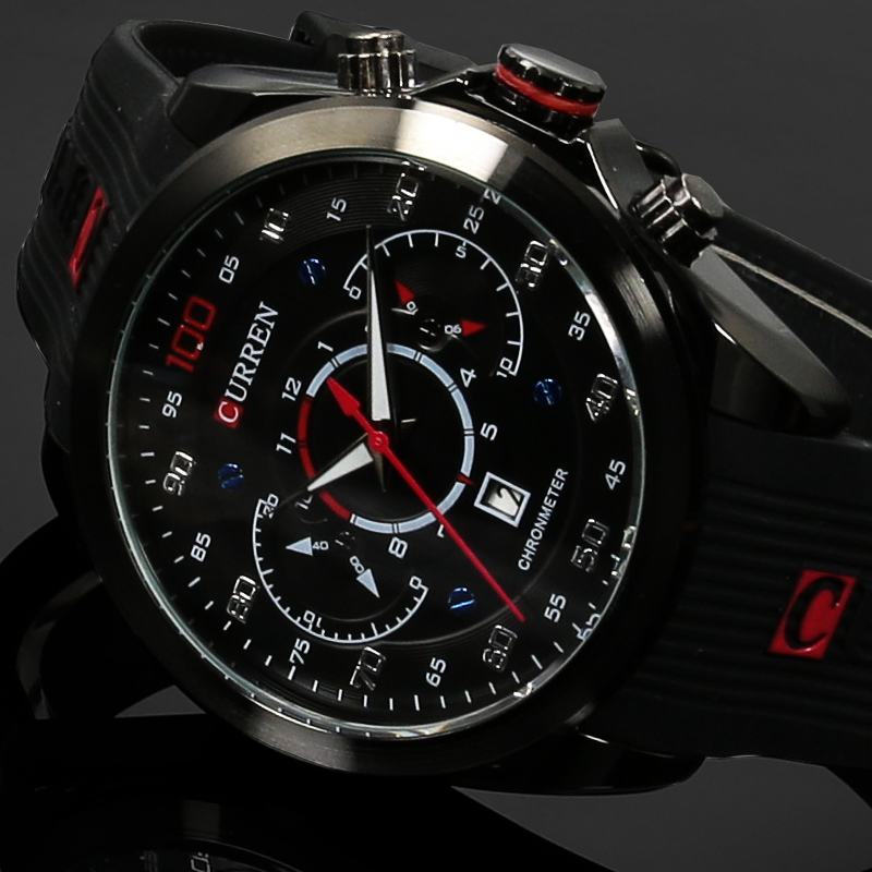 New CURREN Luxury Brand Military Watches Rubber Fashion Quartz font b Men b font Casual Watch