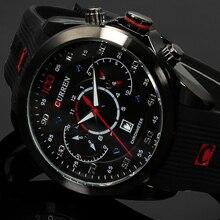 Nueva Moda CURREN Marca de Lujo de Relojes Militares De Goma Cuarzo de Los Hombres Casual Watch Calendario Fecha Work 30 M Reloj Impermeable