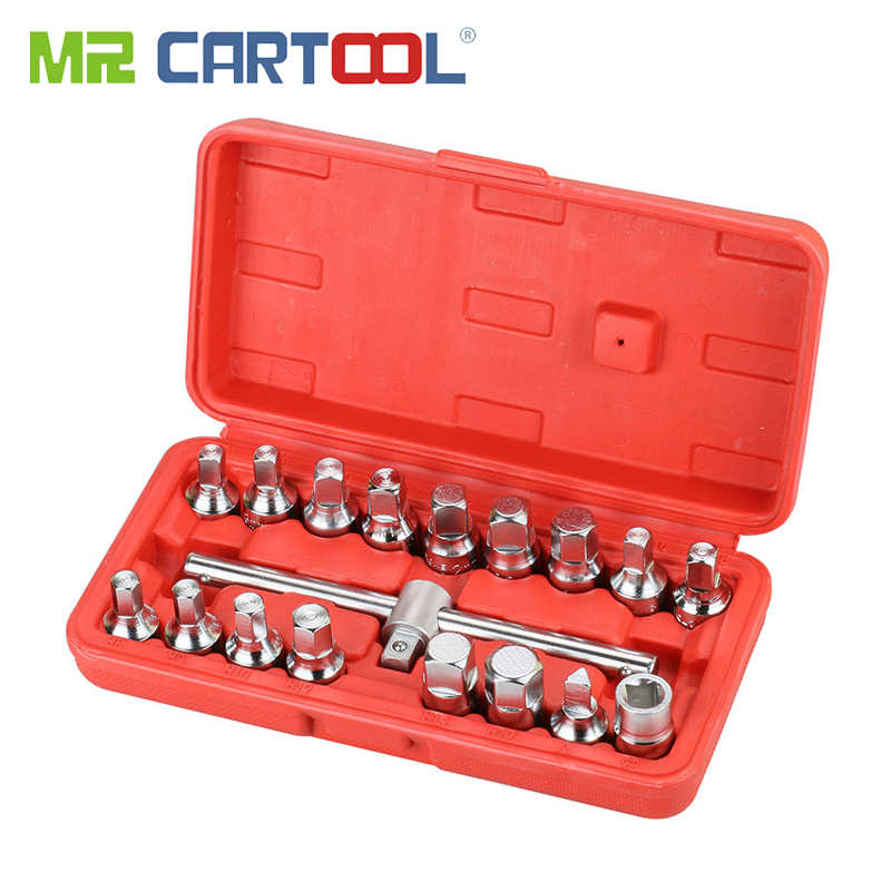 MR CARTOOL 18 PCS Oil Drain Pipe Plug Socket Set Screws Removal Tool Triangle Square Hexagon T-bar Remover Sleeve Special Tools