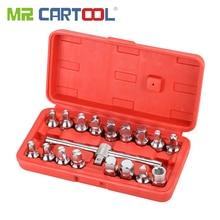 MR CARTOOL 18 PCS Oil Drain Pipe Plug Socket Set Screws Removal Tool Triangle Square Hexagon T-bar Remover Sleeve Special Tools