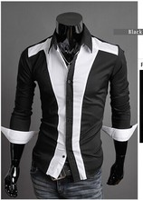 2014 spring Mens patchwork casual long-sleeve shirt cotton slim dress fashion men's shirt size M-XXL