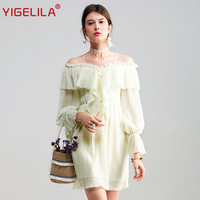 YIGELILA 2017 Latest Autumn Women Fashion Casual V Neck Lantern Sleeve Ruffles Empire Slim Solid Pleated