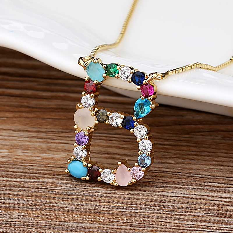 New Arrival Hot Sale Personalized Name Letter Necklace Rainbow CZ Initials Alphabet Women Girls Gorgeous Family Jewelry Gift