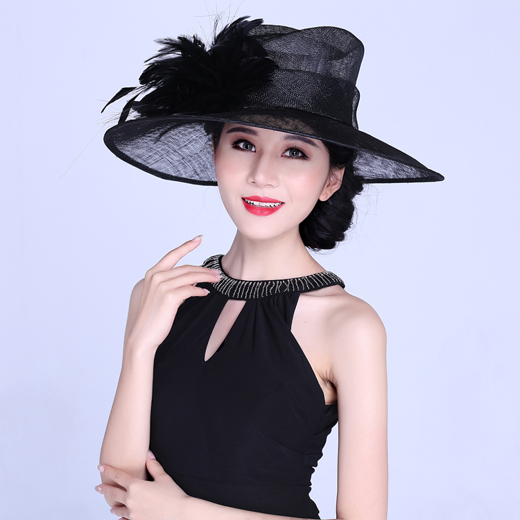 Fashion ladies party hats for women big feather crowns unique stage  performances banquet church linen hat large brimmed-in Fedoras from Apparel  Accessories ... e8ff89e60dd