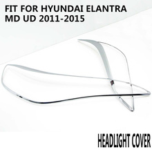 car head light cover accessories decoration 2pc high quality chrome ABS plastic protect for HYUNDAI ELANTRA MD UD 2011-2015 цена в Москве и Питере