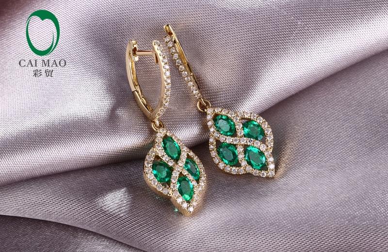 Perhiasan Caimao Romantis 14 K Kuning Emas Natural Emerald & Berlian - Perhiasan bagus - Foto 4
