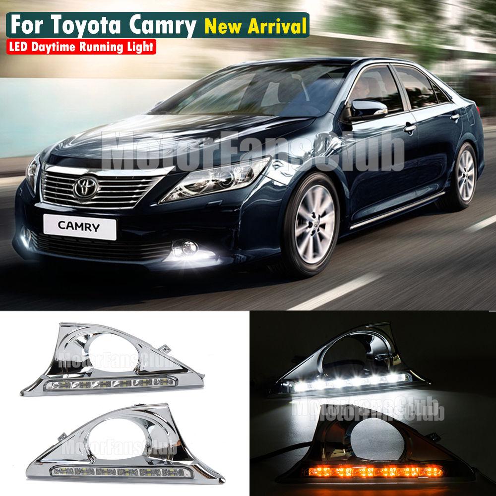 ФОТО 2x LED Fog Lamp DRL Light For Toyota Camry Daytime Running Light Lamp DRL 2012 2013 2014 Turn Signal