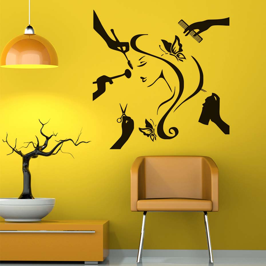 Fashion Lady Make Up Decals Beauty Salon Wall Stickers Home Decor ...
