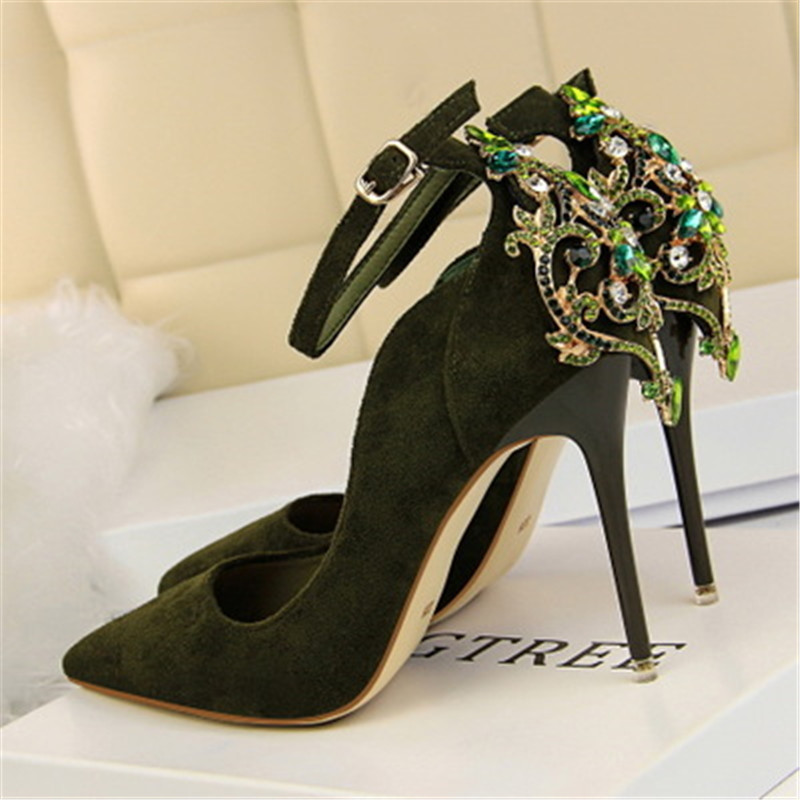 Detail Feedback Questions about Women Luxury Crystal Pumps 10.5cm Thin High  Heels Female Flock Pumps Scarpins Pointed Toe Party Bridal Wedding Shoes on  ... 263fa3ae59