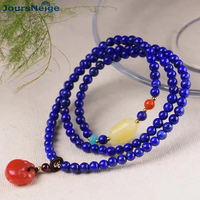 Natural Stone Bracelets Blue Ore Lapis Lazuli Buddha Bead With Fish Hand String Women Men Tibetan Crystal Bracelet Jewelry
