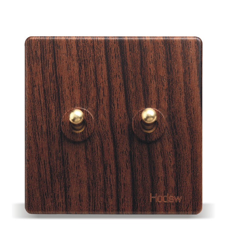 цена на Home - Wall Switch Socket 86 Wooden Paint Retro Switch Two Open Dual Control, PC 220V 10A
