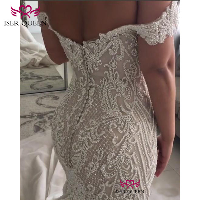 Image 2 - Cap Sleeves Pearls Bright Sequined Embroidery Lace Back Design of Button Bridal Gown 2019 Sexy Mermaid Prom Dresses w0562-in Wedding Dresses from Weddings & Events