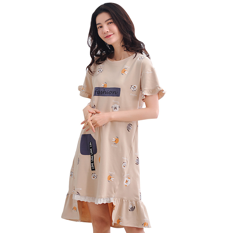 Summer 100 Cotton Cartoon Lace Women Short Sleeved Nightgowns Sleepshirts