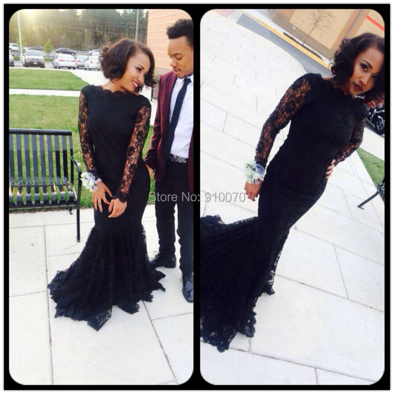 Black Long Sleeve Prom Dresses 2015