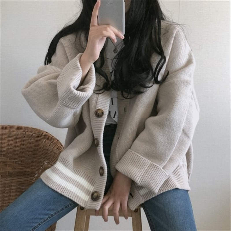Preppy Coreano Tamaño Chaqueta Creamy dark Punto Estilo 37569 White Ropa Suéter Cardigan Único Otoño Mujeres Gran De Rayas Breasted Gray Invierno Neploe A8qw7w