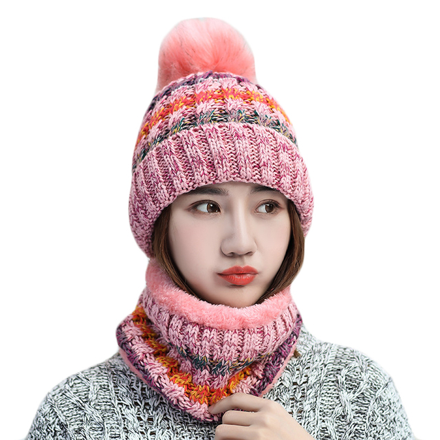 Woman Knitted Beanie Hat And Scarf Set Fox Fur Pompom Hats Female