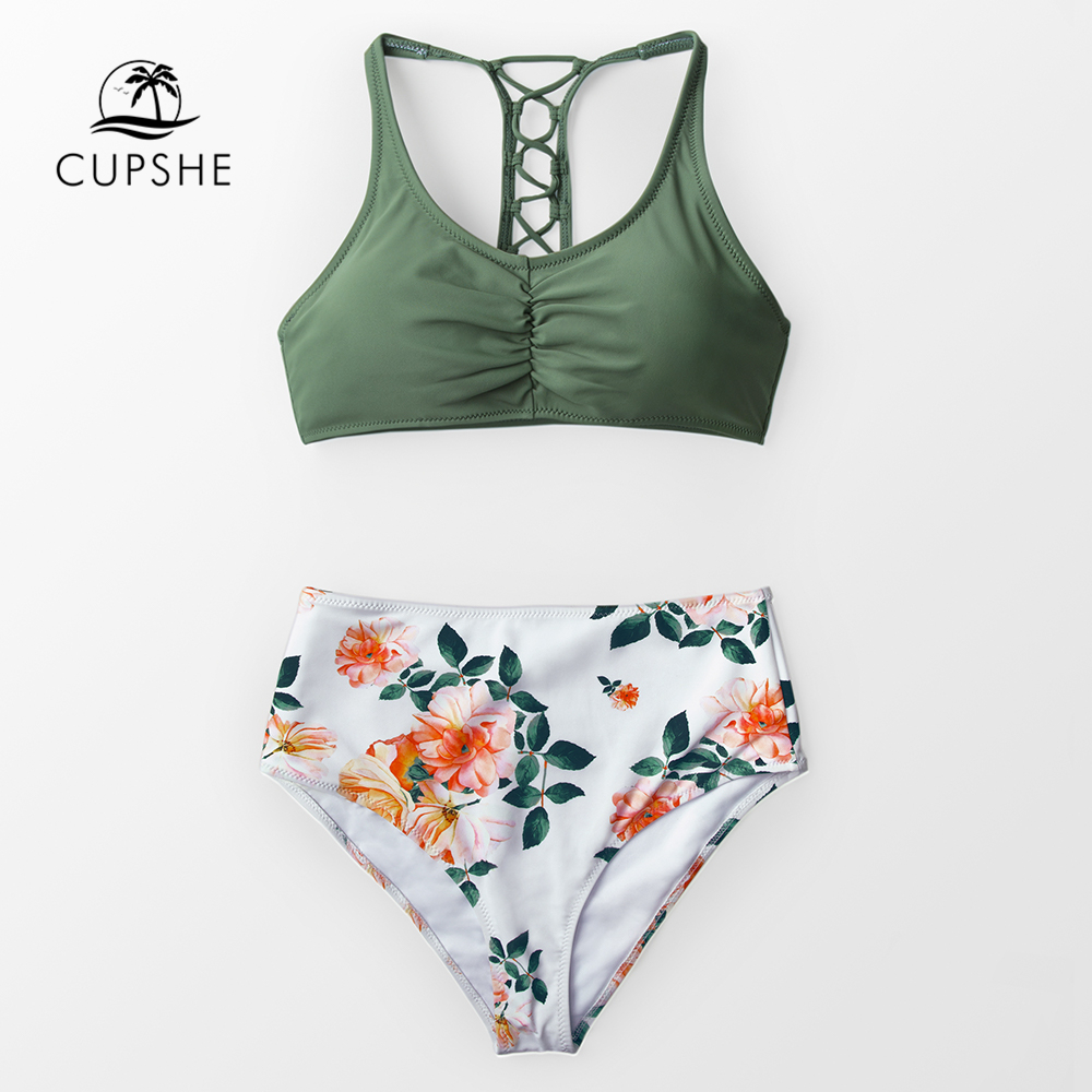 CUPSHE Green And Floral High Waist Bikini Sets Women Lace-up Tank Two Pieces Swimsuits 2020 Girl Beach Bathing Suits