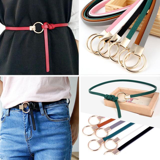Thin PU Leather Belt Waist Belts Women Dress Strap
