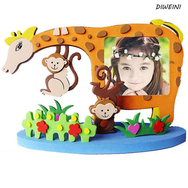 1 Pcs Set Puzzle Frame Foam Craft Kits Easy Crafts Eva Sticky Sticker Animal Photo