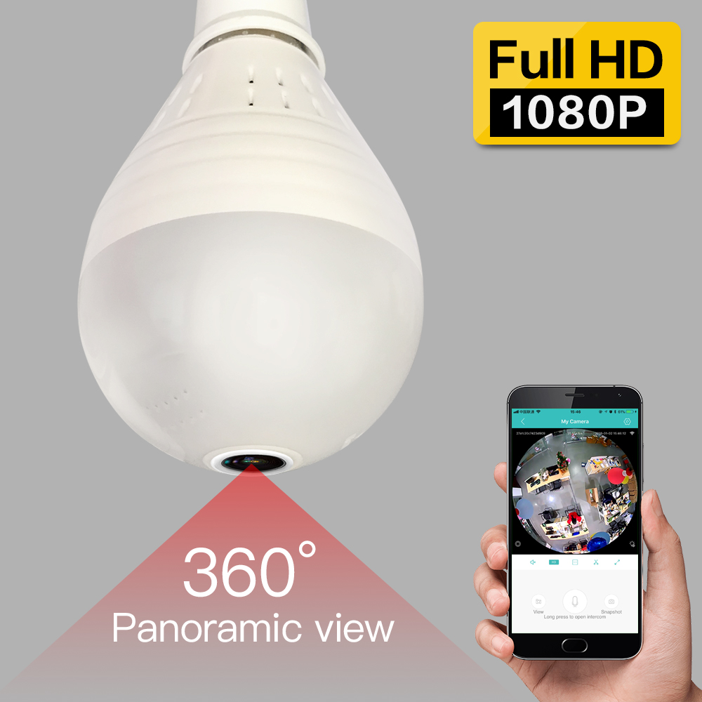 SDETER 960P 1080P Wireless IP Camera-Wifi Bulb Light FishEye 360 Degree Security CCTV Camera IR Security WiFi Camera Panoramic