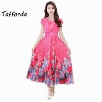 Tafforda S 3XL New European Dress Casual Style Ancient Short Sleeved Chiffon Dress Elegant Spring Summer
