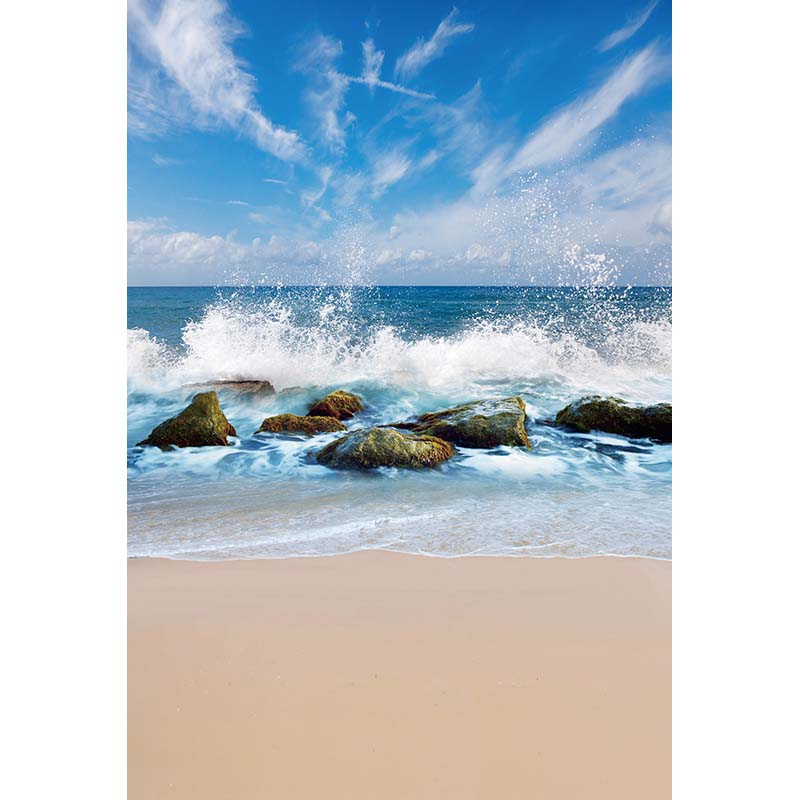 Customize vinyl cloth print 3 D sea beach scenic photo studio backgrounds for portrait photography backdrops props CM-5191