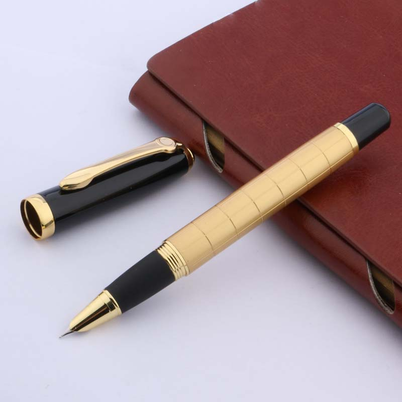 Baoer No 79 Lacquered Black Ballpoint Pen with Rose Gold Trim