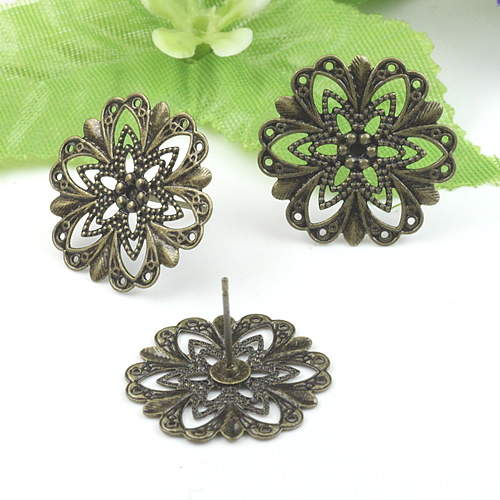 20mm Flower Tray Copper with Antique Bronze Color Stud Earrings hook,earrings base setting accessories