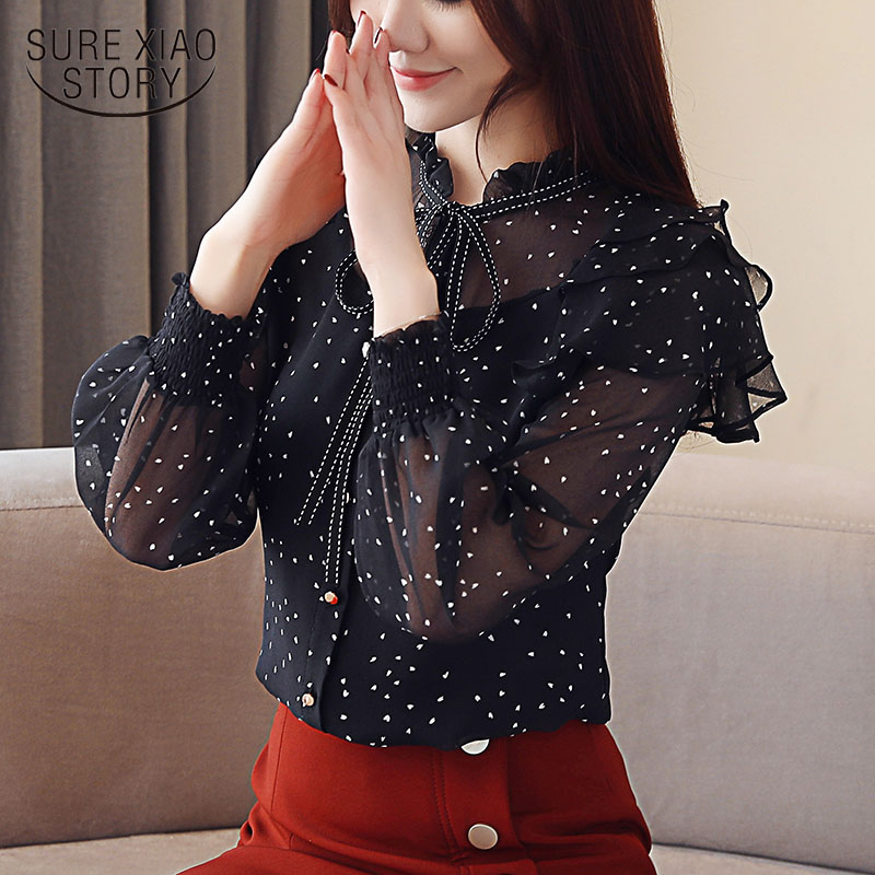 Spring New Women's Lace Chiffon   Blouses     Shirt   Long Sleeve   Shirt   Woman Tops blusas mujer de moda 2019 ruffle   blouse   2136 50