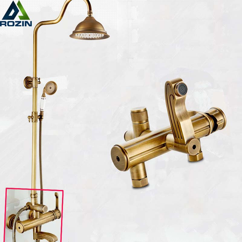 Luxury Wall Mounted 8 Rinfall Shower Faucet Bathroom Brass Antique Style Shower Panel With Hand Shower factory direct sale best price 8 brass head shower with hand shower bathroom shower faucet antique