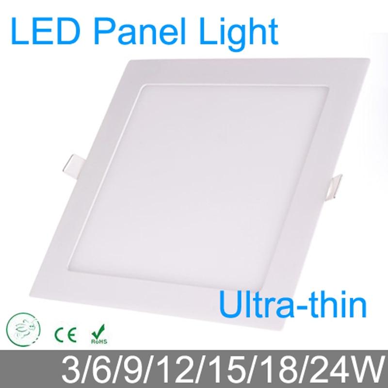 Ultra mince 3 W 6 W 9 W 12 W 15 W 18 W 24 W LED downlight panneau LED carré/lumière de peinture 4000 K chambre luminaire plafonnier encastré