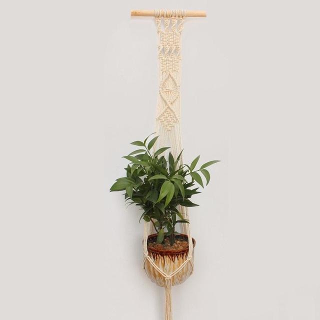 Adeeing 2PCS Macrame Plant Hanger Indoor Outdoor Hand Knit Hanging Planter Wood Stick Basket Wall Art