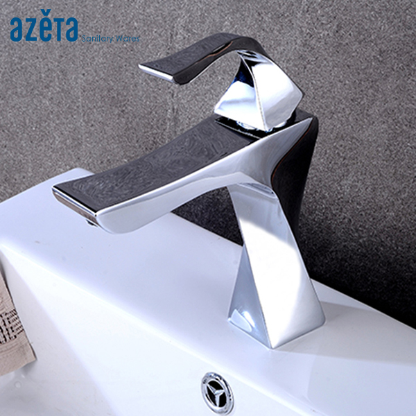 Contemporary New Design Brass Chrome Single Handle Basin Faucet Bathroom Washbasin Cold and Hot Water Basin