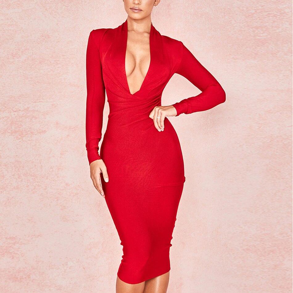 2019 New Deep V Neck Women Bandage Dress Full Sleeves Celebrity Bodycon Dress Sexy Club Vestidos Evening Party Dresses