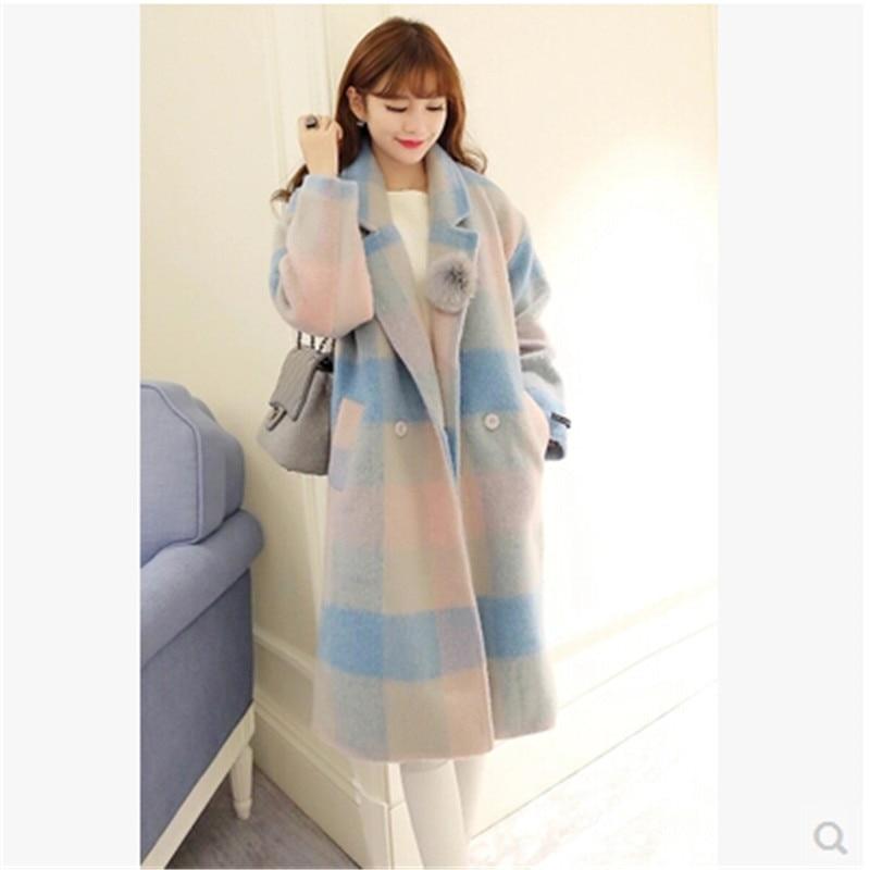 Color Grille Style Lâche Picture Impression Cachemire Mew D'hiver Qualité Mode Laine Tempérament Bn1032 Manteau Haute Femmes Tissus De 4TSHBx