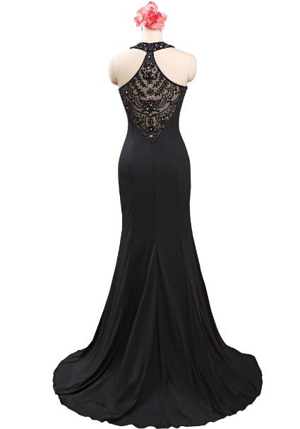 2e04c2b7af86d Halter Top Beaded Elegant Black Jersey Long Mermaid Prom Dress Vestidos De  Prom Largos Black Masquerade Dress,PD030-in Prom Dresses from Weddings &  Events ...