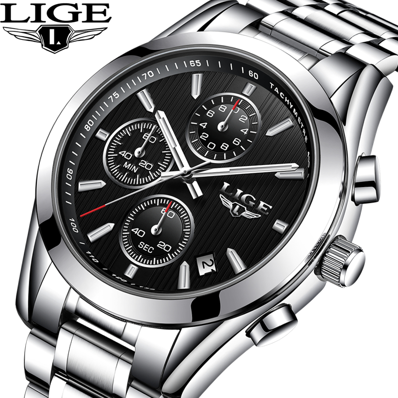 LIGE Mens Watches Top Brand Luxury Full Steel Business Quartz Watch Men Waterproof Military Sport Man Clock Men Relogio Masculio top brand luxury watch men full stainless steel military sport watches waterproof quartz clock man wrist watch relogio masculino