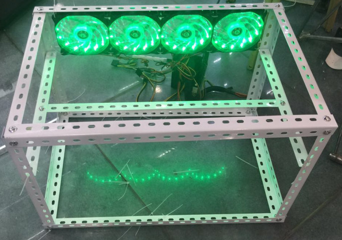 Free shipping!!The rack of Ethereum miner with four LED fans suitable for Ethereum miner 120M.