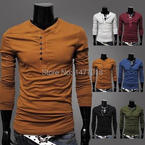 Online Shop Henley Shirt Men Brand Long Sleeve Tshirt Spring tops ...