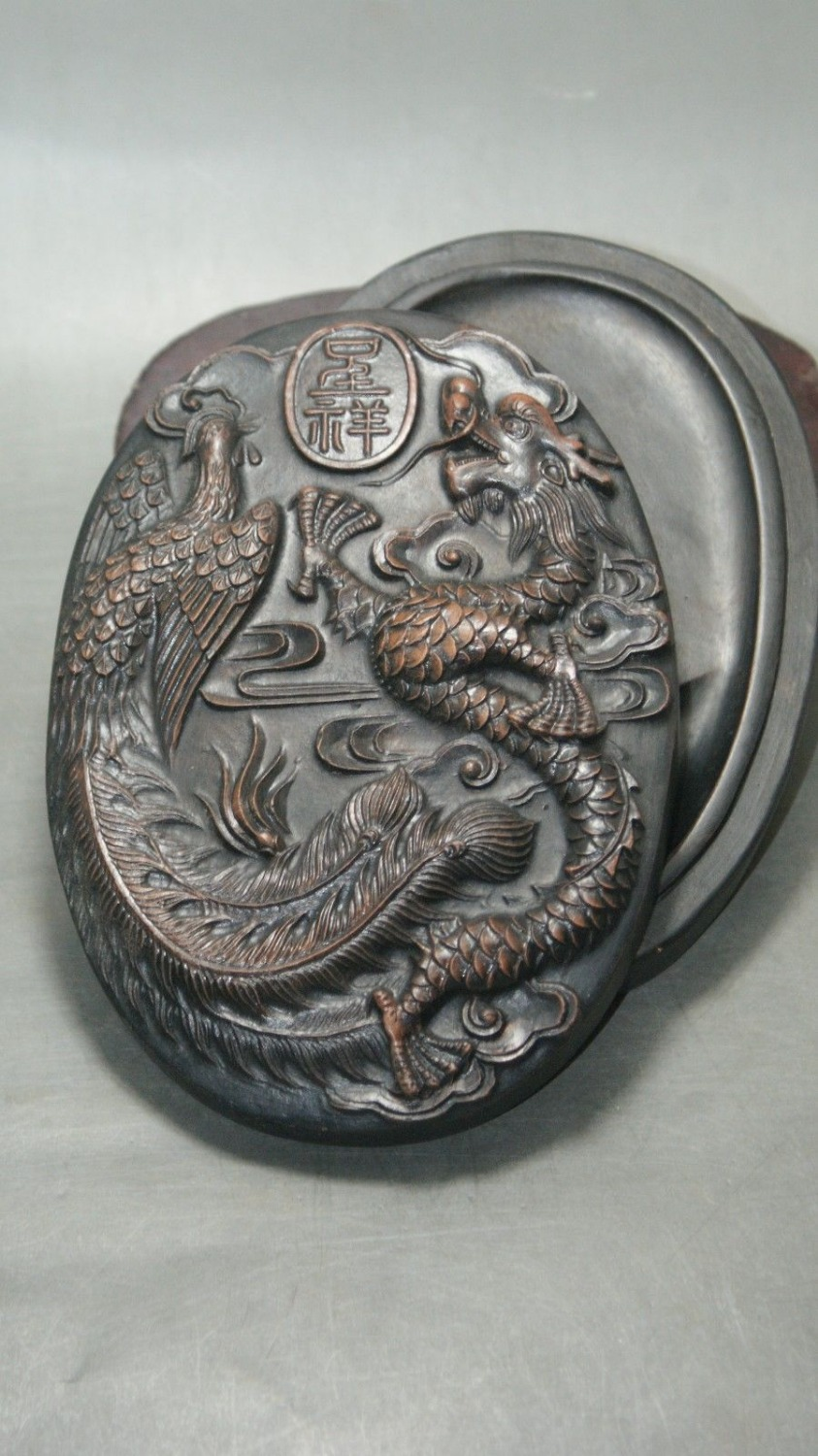 Fine Chinese old wa shi Stone Inkstone with Exquisite carving Dragon Phoenix