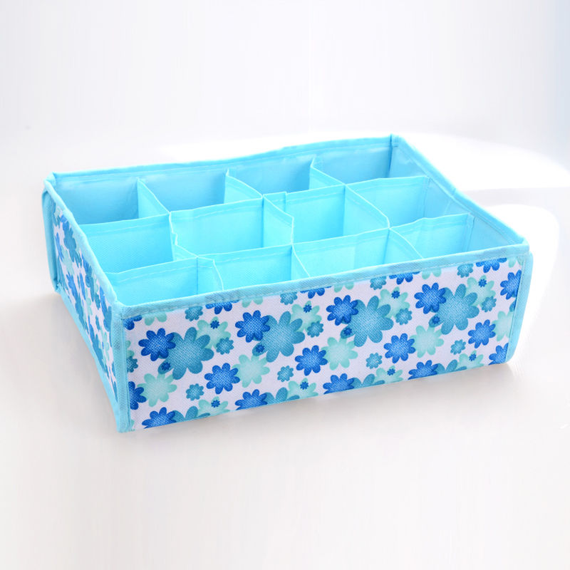 ISKYBOB Blue 12 Grid Box Case Bag Drawer Packing Organizer